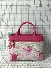 NWT Michael Kors Hailee Medium Floral Satchel Purse Vanilla Logo MK Granita Pink