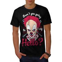 Wellcoda Clown Scary Hello Horror Mens T-shirt,  Graphic Design Printed Tee