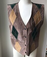Northwest Territory, Women's Large, Snap Closer Brown/Green/Tan Leather Vest HG