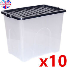10 x 80L 80 Litre XX Large Plastic Storage Clear Box Strong Stackable Container