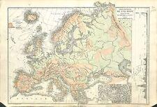 Europe Relief du Sol mont Kazbek Mount Georgie Georgia  MAP CARTE ATLAS 1882