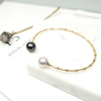 Lustrous AAA Tahitian Pearl&Akoya Pearl Bracelet Bangle 18K Yellow Gold Jewelry