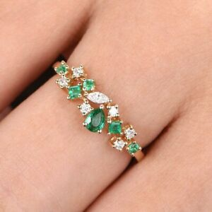 1.00 Ct Green Emerald & Diamond Women's Engagement Ring 14K Yellow Gold Over