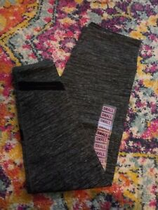 Calvin Klein Leggings -Heather Grey-Black Accent-Small S-New- Athletic Wear
