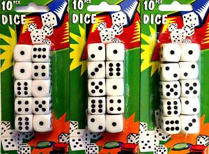 10x 20x 30x Spielwürfel weiß 15mm Würfel set Knobel Cube Augen Spiel Casino OVP