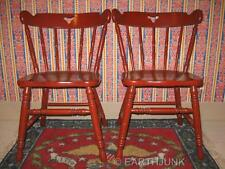 Tell City Antiqued Red Chairs 8018 Hard Rock Maple with Original Factory Paint