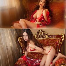 Sexy Women Lingerie Satin Sakura Kimono Cosplay Bkini G-String Gown Set Red