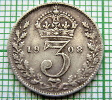 GREAT BRITAIN EDWARD VII 1908 THREEPENCE 3 PENCE, SILVER