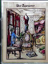 """Bleiverglasung Fensterbild älteres Bernhardt Glasmalereibild """"Der Tapezierer"""""""