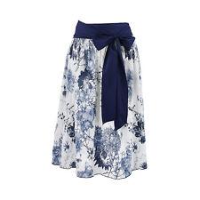 Trachtenrock Rock Damen 2 tlg Damenrock Blau Blumen Weiß Dirndlrock Schleife Neu