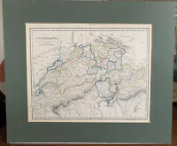 Antique 1822 J C Russell & Sons Hand Coloured Map Of Switzerland