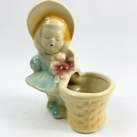 "Vintage Shawnee Girl Planter With Basket Flower Figural Little Girl Ceramic 6"""
