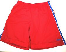 Reebok Red Shorts With Blue And White Stripes On Sides Size Small