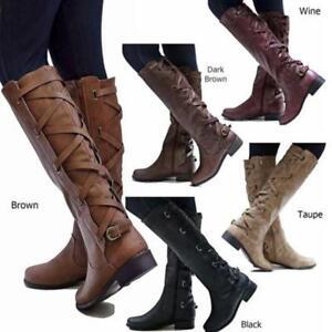 Womens Slim Calf Knee High Stretch Buckle Zip Riding Cowboy Boots Supply