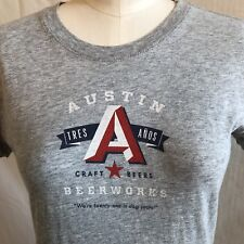 Austin Beer Works Craft Beers T-Shirt Large Gray Tres Anos Were 21 in Dog Years