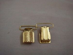 6 pieces Suspenders Gold Tone or Silver Tone Clip on Buckle