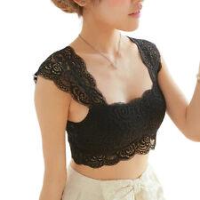 Sleeveless Lace Tank Tops Bustier Bra Vest Crop Top Bralette Camisole Women Black