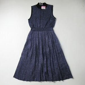 NWT Kate Spade Metallic Pleated Sweater Dress in Black Purple Sleeveless Knit S