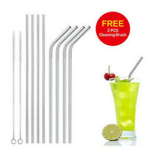 8Pcs Stainless Steel Drinking Straws Bent Reusable Washable + 2 Cleaning Brushes