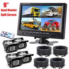 "9"" Quad Split Screen Monitor 4x Backup Rear View Camera System for Truck RV"
