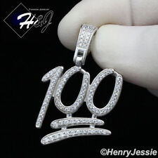 MEN 925 STERLING SILVER LAB DIAMOND ICED OUT BLING 100 EMOJI LOGO PENDANT*SP176