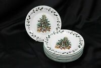 "Gibson Tree Trimmings Xmas Salad Plates 7.75"" Set of 8"