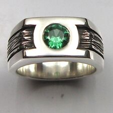 MJG STERLING SILVER GREEN LANTERN RING.10MM BAND. 6MM CZ. JUSTICE LEAGUE. SZ 9.5