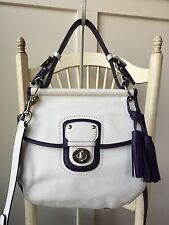 COACH 22409 Legacy Archival Two Tone White Plum Leather Willis Crossbody Satchel