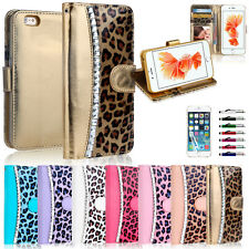 Diamond Leopard TPU WALLET CARD FLIP CASE COVER For Apple iPhone 6 6S 8 & 7 Plus