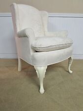 WING BACK CHAIR, ARM CHAIR, WHITE UPHOLSTERY by COX FURNITURE.  CLEAN!