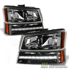 2003-2006 Chevy Silverado 1500 Avalanche Headlights+LED Bumper Signal Lights