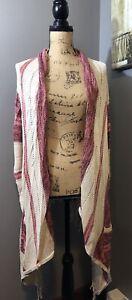 Billabong Cardigan Sz XL Beautiful Pink & Cream Fringe