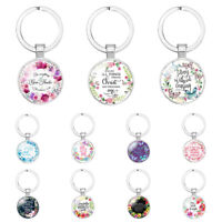 Chic Catholicism Bible Verse Glass Scripture Quote Faith Christian Keychain HOT