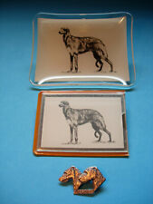 Deerhound collectibles, Tray, Mirror and Brooch / Pin VINTAGE and NEW