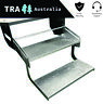 Double Pull Out Manual Folding Galvanised Caravan Step Camper Trailer Steps RV