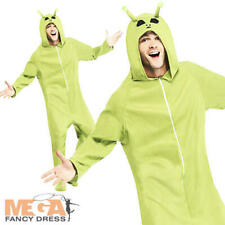 Green Alien Mens Fancy Dress Space Martian Adults Halloween Costume Outfit