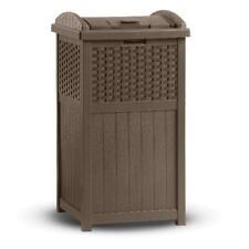 33 Gallon Garden Garbage Waste Bin Outdoor Hideaway Durable Plastic Trash Can