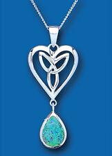 Opal Pendant Blue Opal Necklace Heart Celtic Solid Sterling Silver Pendant