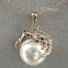 NECKLACE 9K GF 9CT SOLID GOLD GENUINE CRYSTAL PEARL CROCODILE PENDANT