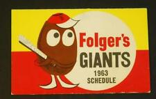 1963 San Francisco Giants Baseball Pocket Schedule Folgers Coffee Sponsor