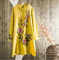 Womens Fashion Retro Embroidered 3/4 Sleeves Cotton Ramie Tunic Blouse Top
