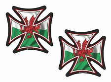 2pc LMS Iron Cross & Welsh Galles Cymru Bandiera Retrò Casco Da Motociclista Vinile Car Adesivo