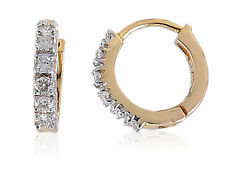 0.46 Cts Natural Diamonds Hoop Earrings In Solid Certified 18Karat Yellow Gold
