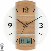 Atlanta 4471//7 Wanduhr Analog Modern Holz schwarz rund Ø ca 40 cm