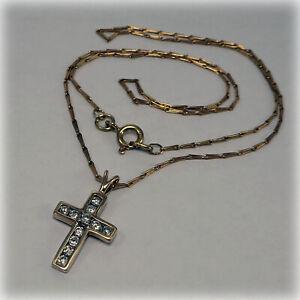 "9ct Gold Diamond set Cross on 16"" Gold Hayseed Chain"
