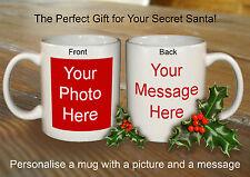 PERSONALISED SECRET SANTA  MUG FOR FRIEND OFFICE FUNNY NOVELTY GIFT CHRISTMAS