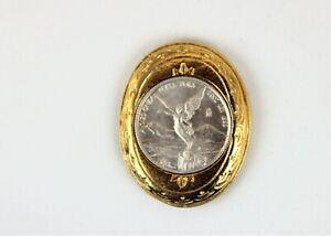 2002 Mexico Coin 1oz Silver Libertad 999 Ley Moneda Plata Pura Onza in Gold Tone