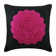 "Suede 20""x20"" Luxury Accent Throw Pillow Pink Black,Rose Origami - Hot Pink Rose"