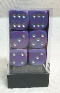 Dice - Chessex 16mm Speckled Silver Tetra w/Silver Pips - Box of 12 - Purple!