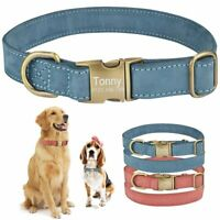 Leather Personalized Dog Collar Custom Engraved ID Tag Name Adjustable S M L Pet